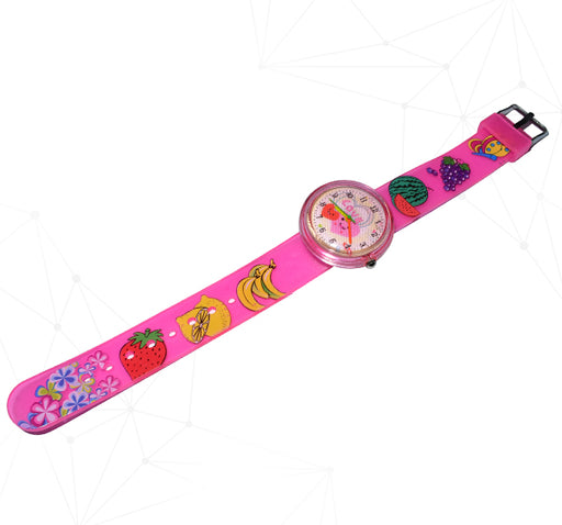 3D Effect Fruit Pattern Baby Analogue Watch - Pink - Hiffey
