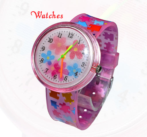 3D Effect Puzzle Pattern Baby Analogue Watch - Pink - Hiffey