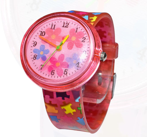 3D Effect Puzzle Pattern Baby Analogue Watch - Red - Hiffey