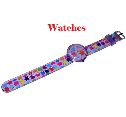 3D Effect Puzzle Pattern Baby Analogue Watch - Purple - Hiffey