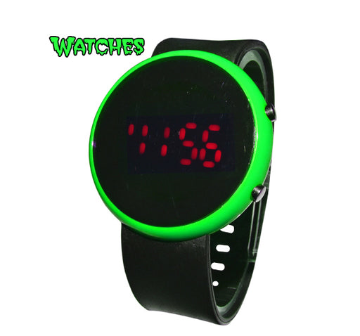 LED Round Dial Watch for Kids - Green - Hiffey