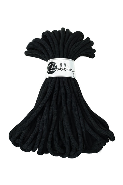 Bobbiny Jumbo 9mm BLACK Cotton Cord 20m