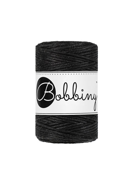 Bobbiny 1.5mm BLACK Single Twist Macrame Cord 100m
