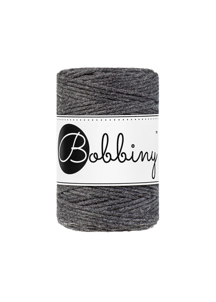 Bobbiny 1.5mm CHARCOAL Single Twist Macrame Cord 100m