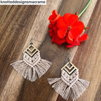 BAMBOO Earring Macrame Frames DIAMOND CHEVRON Pair