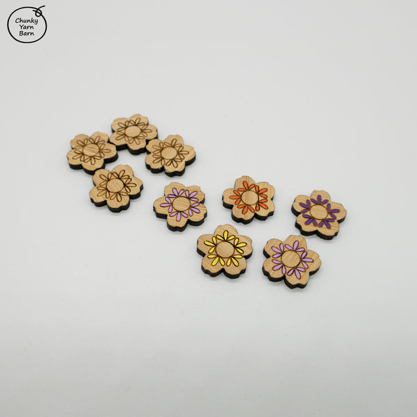 Stud Earrings FLOWER Etched