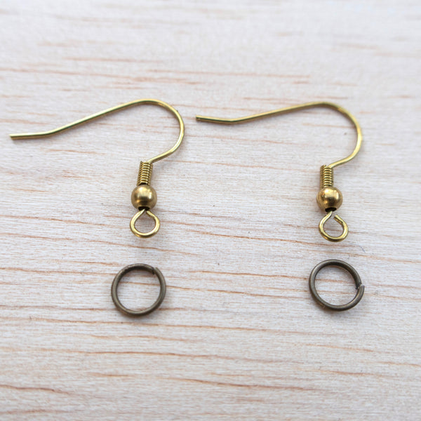 BRASS Earring Hooks + Jump Rings (5 Pairs)