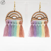 BAMBOO Earring Macrame Frames RAINBOW + CLOUDS Pair
