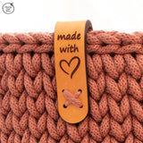Genuine Leather Laser Cut & Etched 'Made with Love' Handle