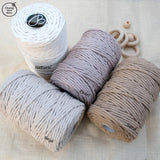 Bobbiny 5mm BEIGE Single Twist Macrame Cord 100m