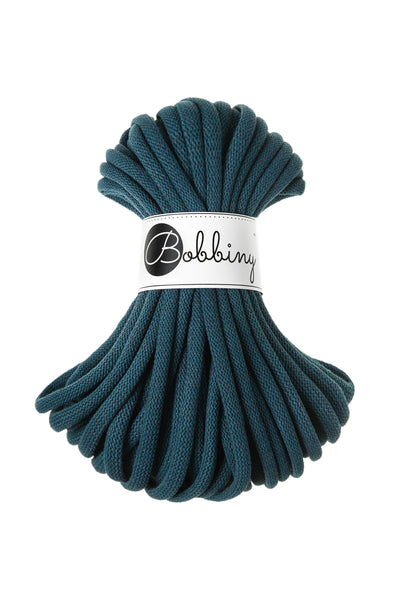 Bobbiny Jumbo 9mm PEACOCK BLUE Braided Cord 20m