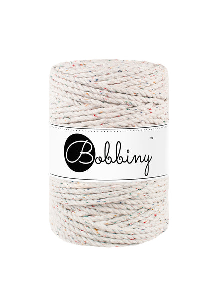 Bobbiny 5mm RAINBOW DUST 3ply Macrame Cord 100m