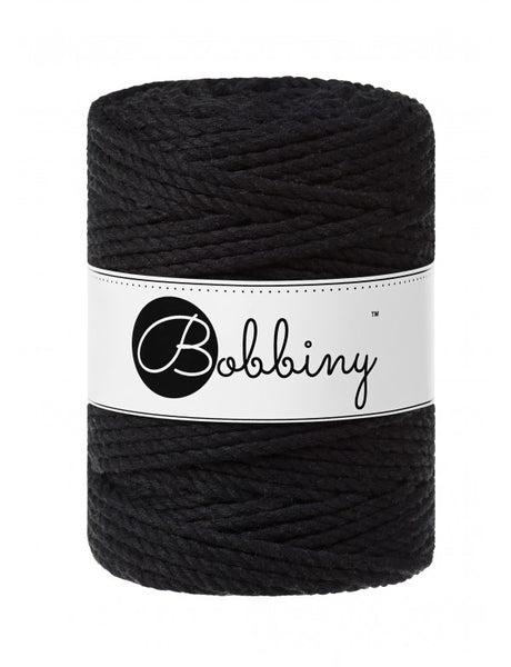 Bobbiny 5mm BLACK 3ply Macrame Cord 100m
