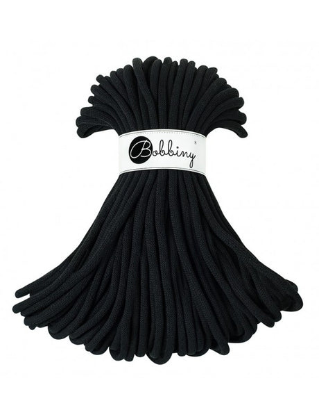 Bobbiny Jumbo 9mm BLACK Cotton Cord 50m