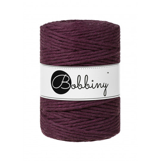 Bobbiny 5mm BLACKBERRY Single Twist Macrame Cord 100m
