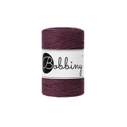 Bobbiny 1.5mm BLACKBERRY Single Twist Macrame Cord 100m