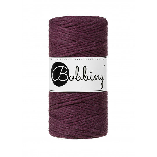 Bobbiny 3mm BLACKBERRY Single Twist Macrame Cord 100m