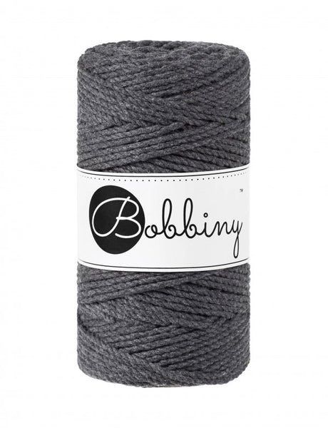 Bobbiny 3mm CHARCOAL 3ply Macrame Cords 100m