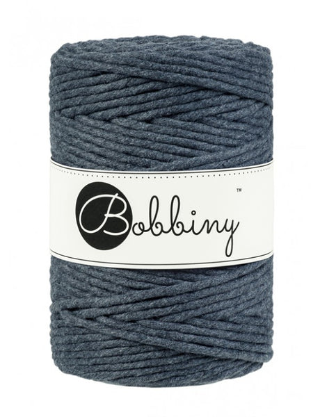 Bobbiny 5mm CHARCOAL Single Twist Macrame Cord 100m