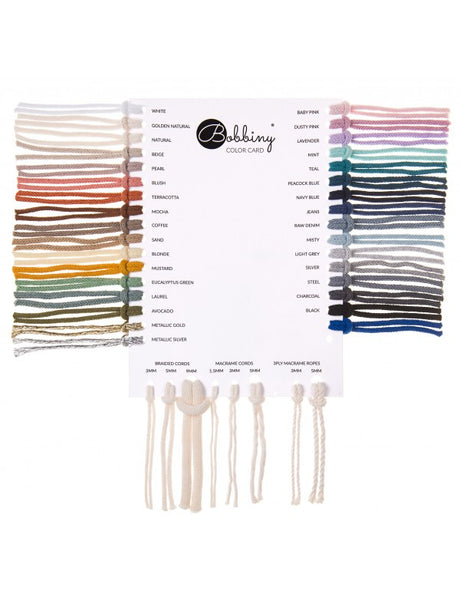 Bobbiny Braided Cord Colour Chart