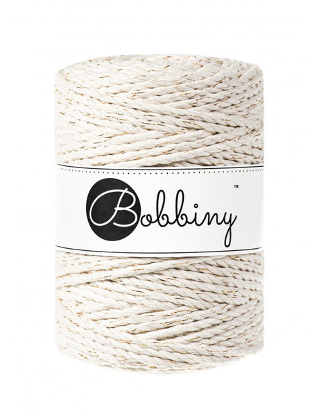 Bobbiny 5mm GOLDEN NATURAL 3ply Macrame Cord 100m