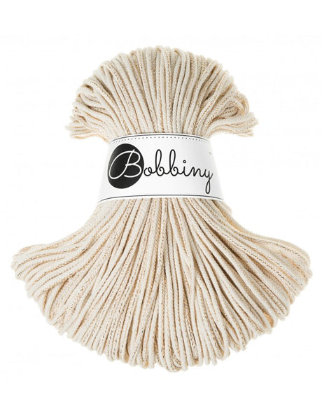 Bobbiny 3mm GOLDEN NATURAL Cotton Cord 100m