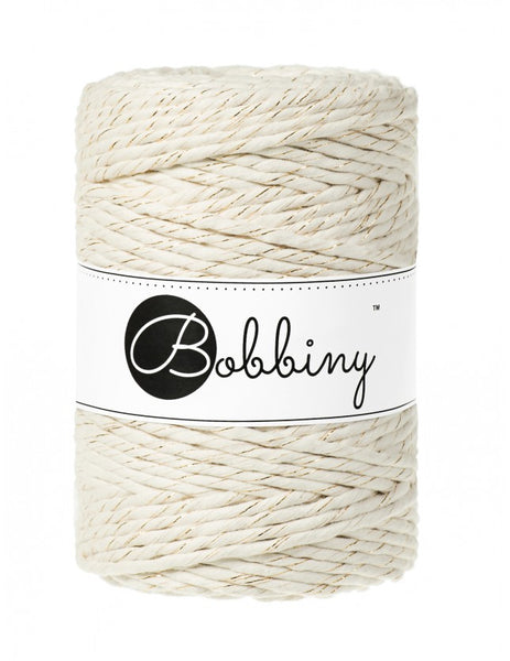 Bobbiny 5mm GOLDEN NATURAL Single Twist Macrame Cord 100m