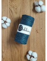 *Bobbiny 3mm GOLDEN PEACOCK BLUE Single Twist Macrame Cord 100m