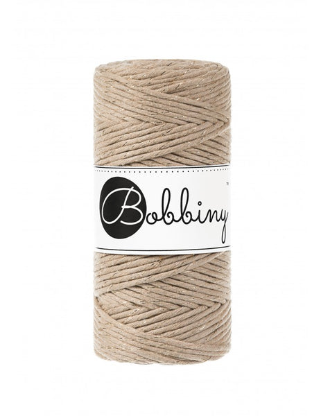 Bobbiny 3mm GOLDEN SAND Single Twist Macrame Cord 100m
