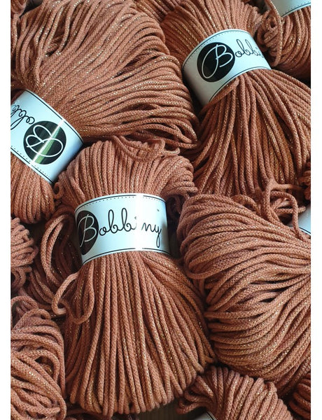 Bobbiny 3mm GOLDEN TERRACOTTA Cotton Cord 100m