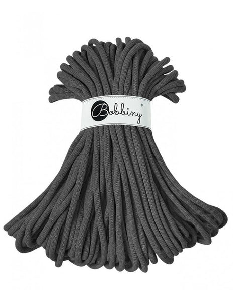 Bobbiny Jumbo 9mm GRAPHITE Cotton Cord 50m