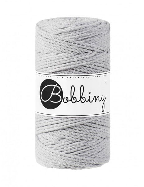 Bobbiny 3mm LIGHT GREY 3ply Macrame Cords 100m