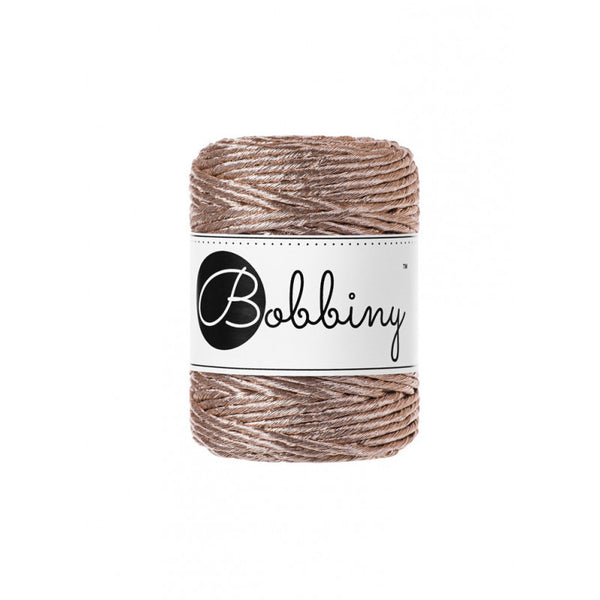 Bobbiny 3mm METALLIC CHAMPAGNE Single Twist Macrame Cord