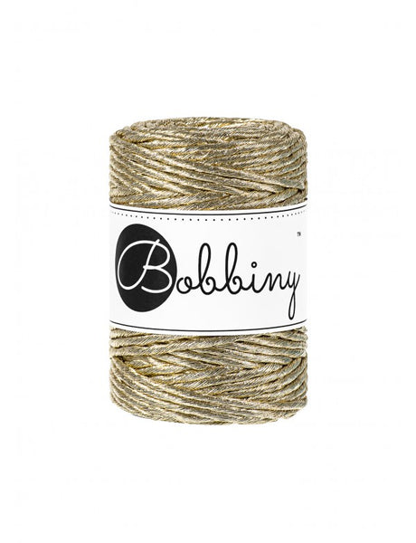 Bobbiny 3mm METALLIC GOLD Single Twist Macrame Cord 50m