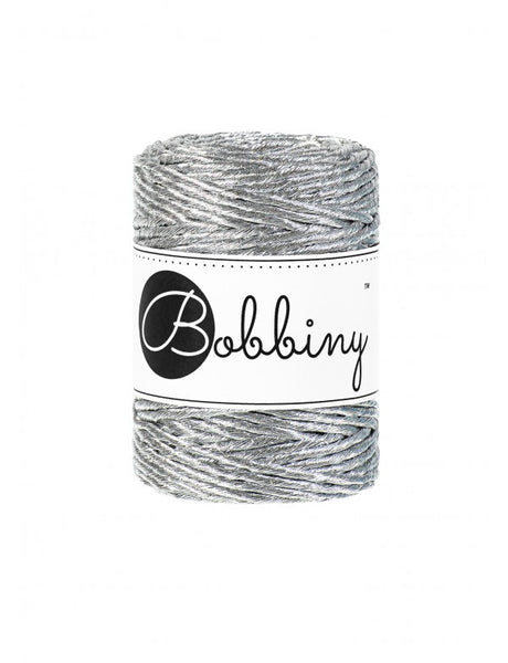 Bobbiny 3mm METALLIC SILVER Single Twist Macrame Cord 50m
