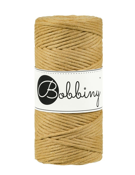Bobbiny 3mm MUSTARD Single Twist Macrame Cord 100m