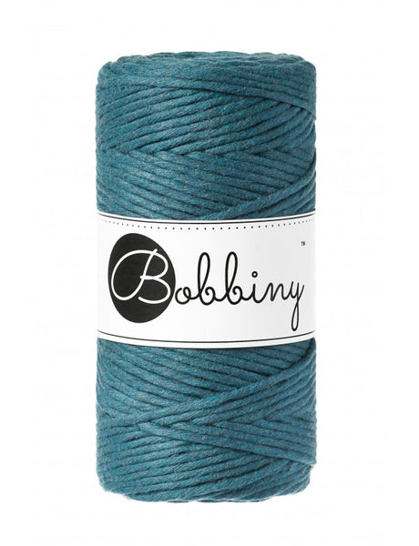 Bobbiny 3mm PEACOCK BLUE Single Twist Macrame Cord 100m