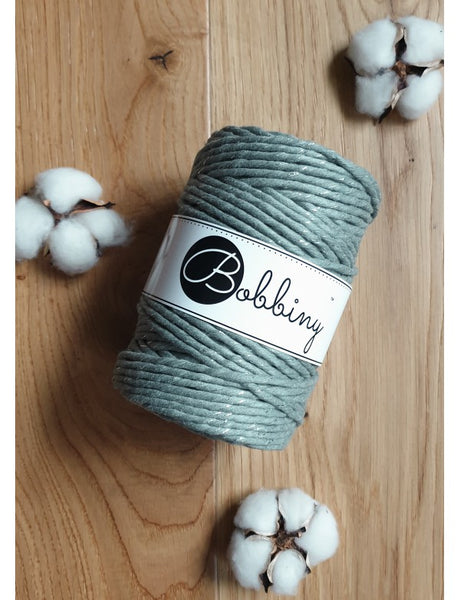 *Bobbiny 5mm SILVERY LAUREL Single Twist Macrame Cord 100m
