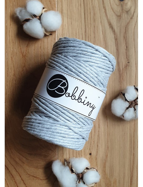 Bobbiny 5mm SILVERY LIGHT GREY Single Twist Macrame Cord 100m