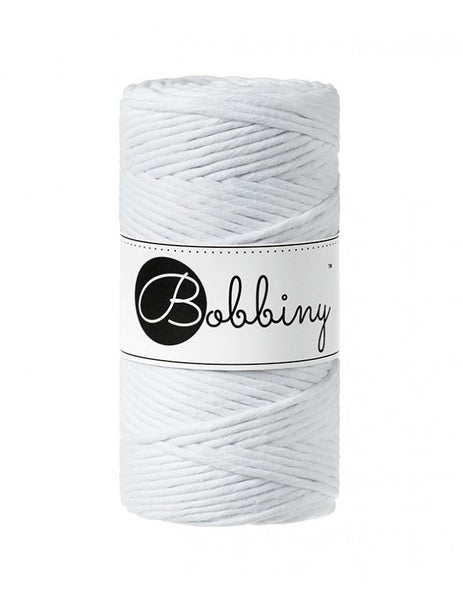 Bobbiny 3mm WHITE Single Twist Macrame Cord 100m