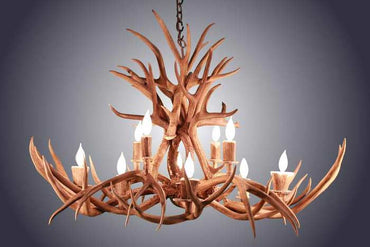 Oblong 10 Light Mule Deer Antler Chandelier