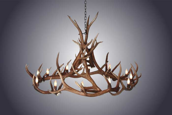 12 Light Elk Antler Ring Chandelier