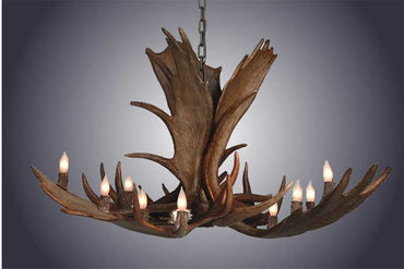 12 Light Moose Antler Chandelier