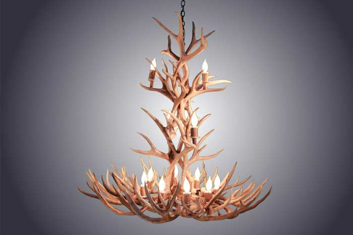 XL 12 Light Mule Deer Antler Chandelier