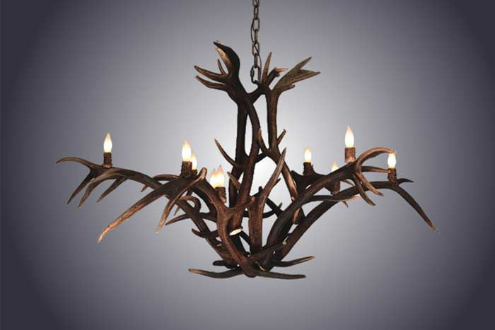 12 Light Red Stag Antler Chandelier