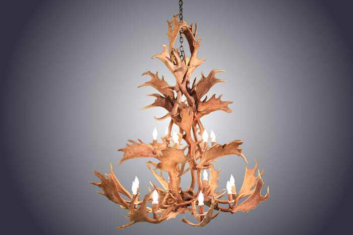 14 Light Fallow Antler Chandelier