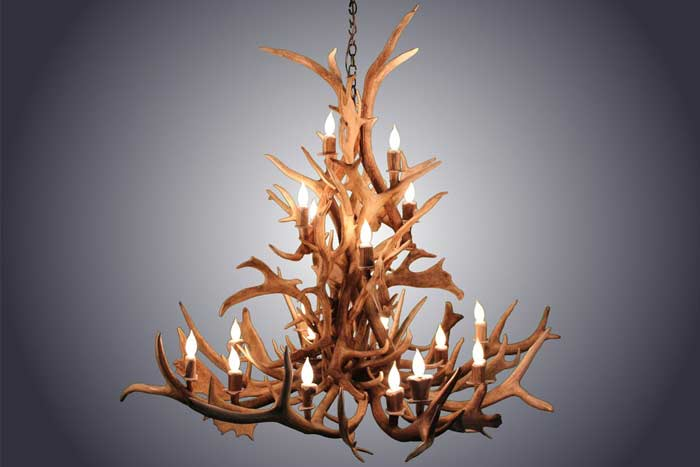 18 Light Elk & Fallow Deer Antler Chandelier
