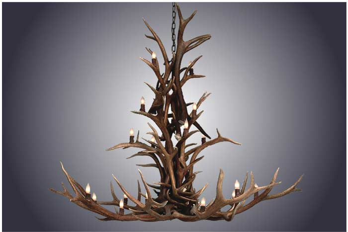 20 Light Cascading Elk Antler Chandelier