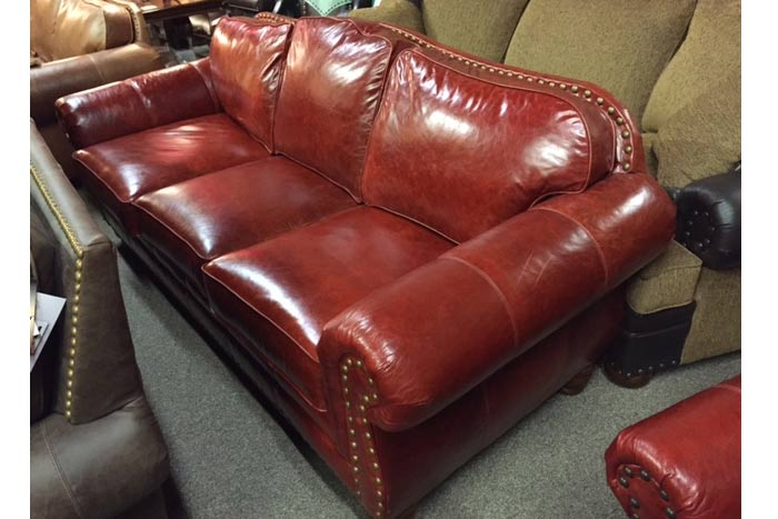 Western Red Leather Sofa   Upscale Distressed Leather couch   High ...