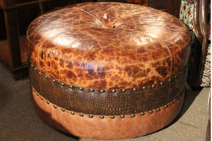 Distressed Gator Leather Ottoman